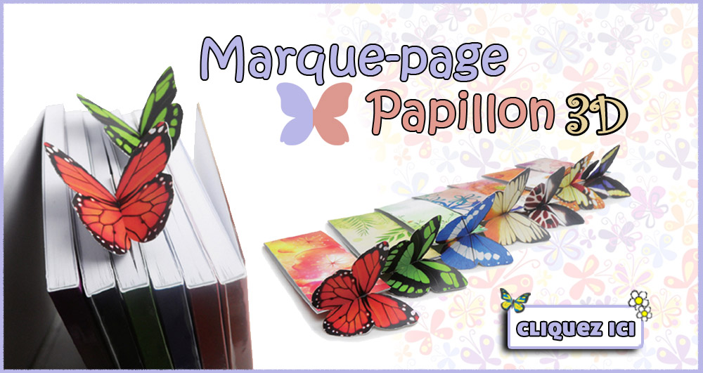 Main Banner - 3D Butterfly Bookmarks - French
