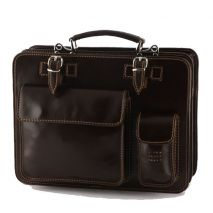 Attalia II - Leather Lady Handbag - Dark brown