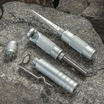 5-in-1 Compact Survival Tool (Silver) - with Compass,Striker, Flint, Punch and Whistle Picture 5