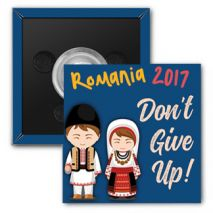"2017 ""Don't Give Up!"" Special Convention Magnet and Clothing Pins - Cluj-Napoca, Romania"