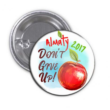 """2017 """"Don't Give Up!"""" Special Convention Magnet and Clothing Pins - Almaty, Kazakhstan"""