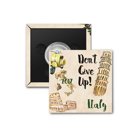 "2017 ""Don't Give Up!"" Special Convention Magnet and Clothing Pins - Milan, Italy"