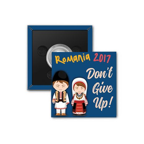 """2017 """"Don't Give Up!"""" Special Convention Magnet and Clothing Pins - Cluj-Napoca, Romania"""